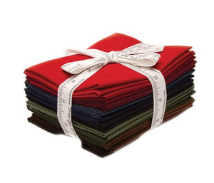 Moda Bella Solids Cotton Fat Quarter Bundle: Darks with free quilt pattern