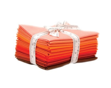 Moda Bella Solids Cotton Fat Quarter Bundle: Orange with free quilt pattern