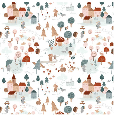 Country Mouse in White by Dear Stella PRICE PER 1/4 YARD FABRIC