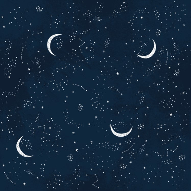 Crescent Moon - Celestial in Multi Blue by Dear Stella PRICE PER 1/4 YARD FABRIC