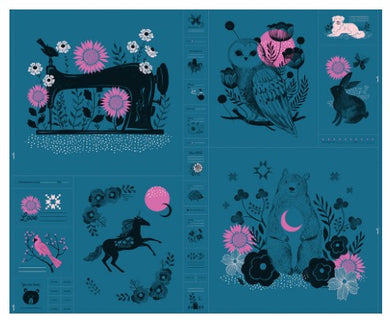 Crescent Novelty Forest Panel by Sarah Watts - Ruby Star Society (teal)