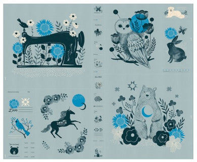 Crescent Novelty Forest Panel by Sarah Watts - Ruby Star Society (soft blue)