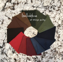 Load image into Gallery viewer, Moda Bella Solids Cotton Fat Quarter Bundle: Darks with free quilt pattern