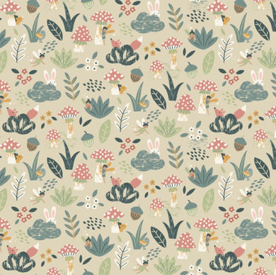Peekaboo Woodland in Parchment by Dear Stella PRICE PER 1/4 YARD FABRIC