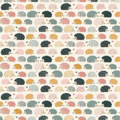 Prickles Hedgehog Porcupines in Cream by Dear Stella PRICE PER 1/4 YARD FABRIC