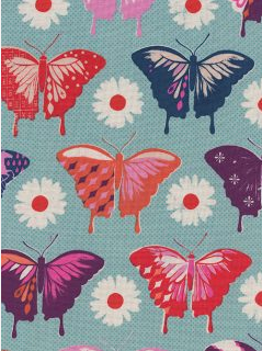 Flutter Butterflies Aqua - Cotton and Steel Fabric