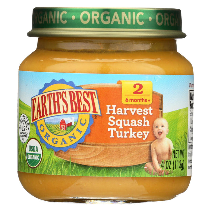 Earth's Best Organic Harvest Turkey Squash Baby Food - Stage 2 - Case Of 12 - 4 Oz.
