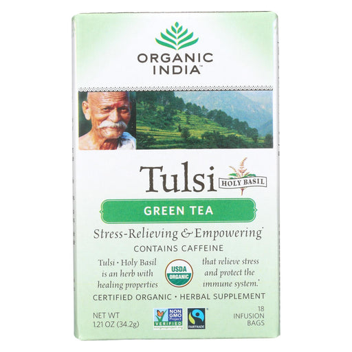 Organic India Tulsi Tea Green Tea - 18 Tea Bags - Case Of 6