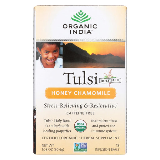 Organic India Tulsi Tea Honey Chamomile - 18 Tea Bags - Case Of 6