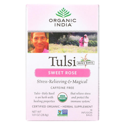 Organic India Tulsi Tea Sweet Rose - 18 Tea Bags - Case Of 6