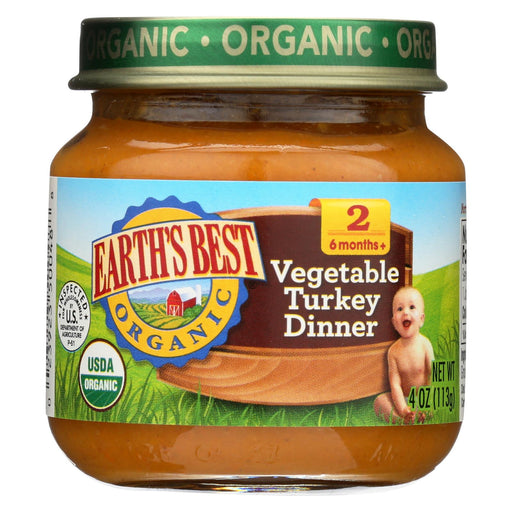 Earth's Best Organic Vegetable Turkey Dinner Baby Food - Stage 2 - Case Of 12 - 4 Oz.