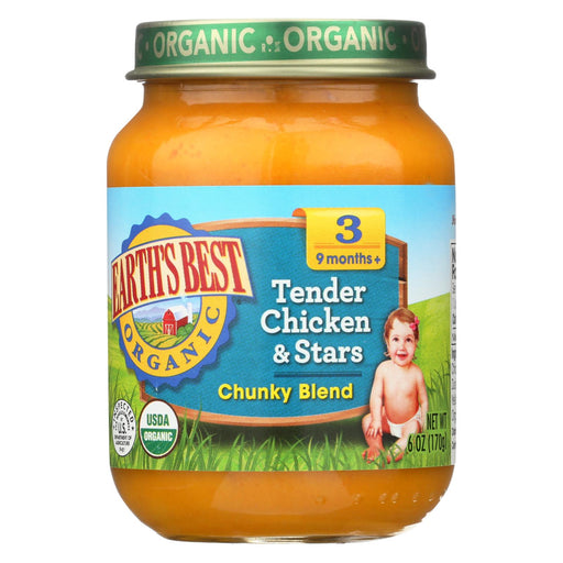 Earth's Best Organic Tender Chicken And Stars Baby Food - Stage 3 - Case Of 12 - 6 Oz.