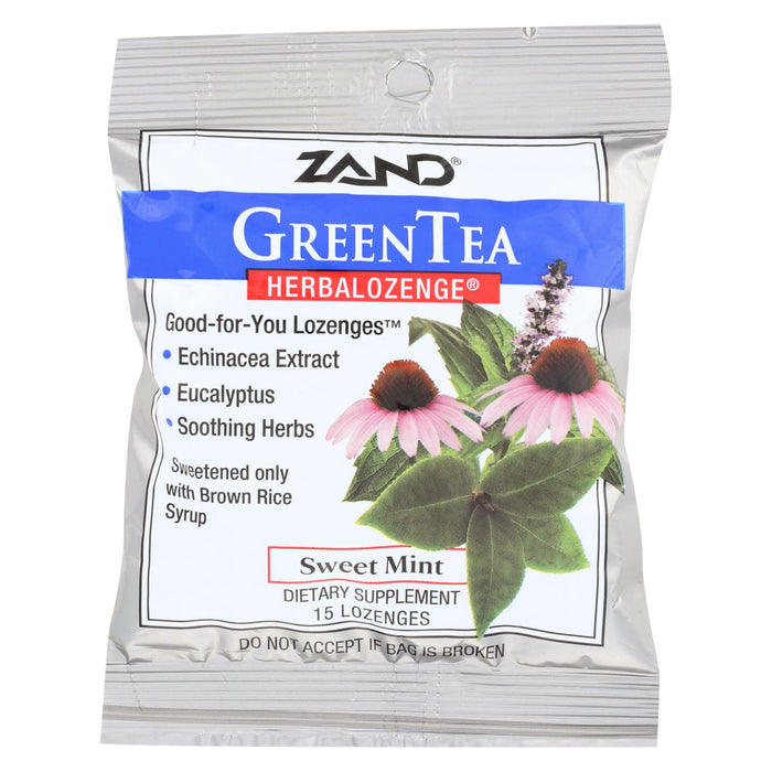 Zand Counter Display - Herbal Supplement - Herbalozenge - Green Tea With Echinacea - 15 Lozenges - Case Of 12