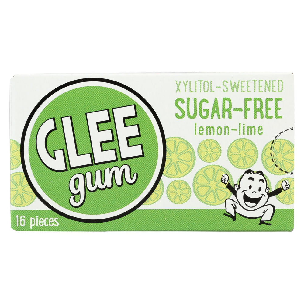 Glee Gum Chewing Gum - Lemon Lime - Sugar Free - Case Of 12 - 16 Pieces