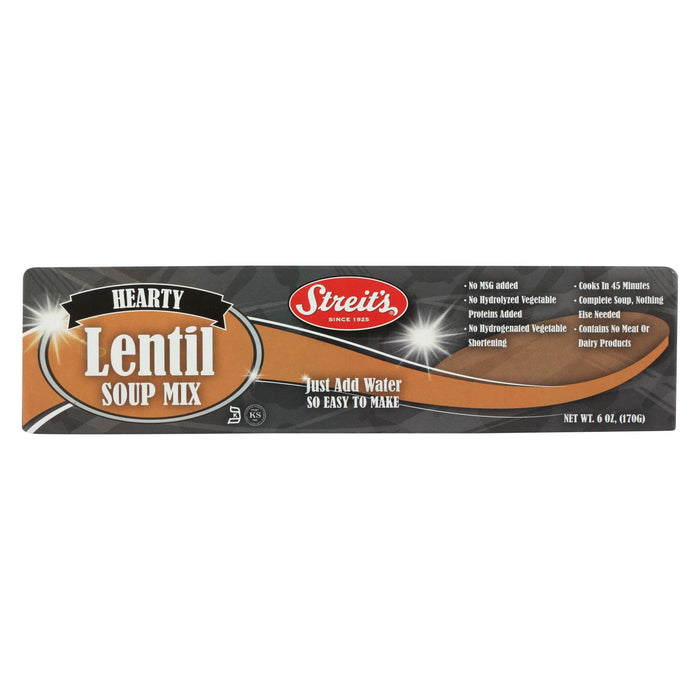 Streit's Soup Mix - Lentil - Case Of 12 - 6 Oz.