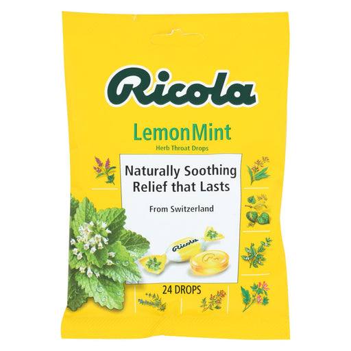 Ricola Herb Throat Drops Lemon Mint - 24 Drops - Case Of 12