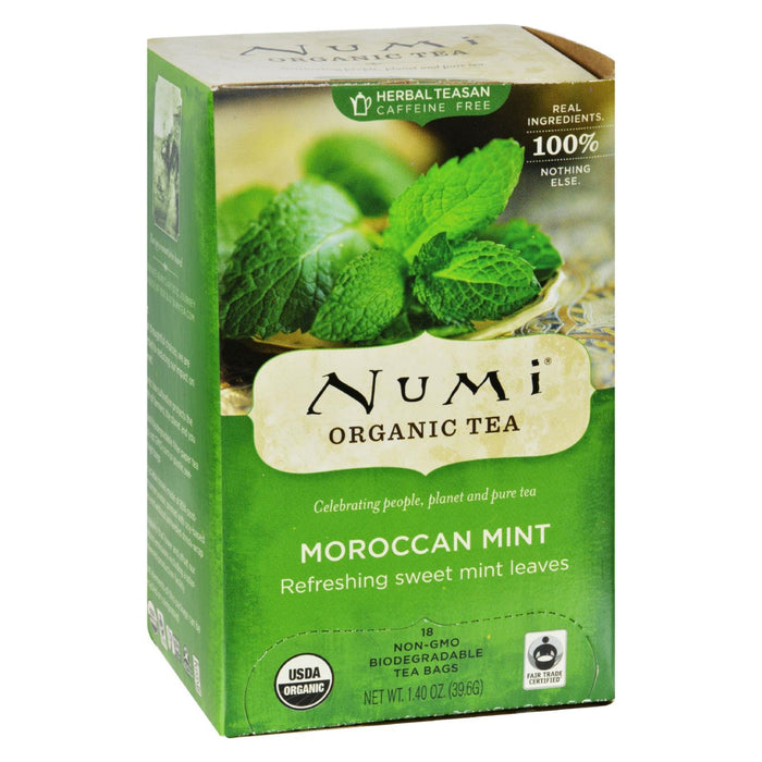Numi Organic Tea Moroccan Mint - 18 Tea Bags - Case Of 6