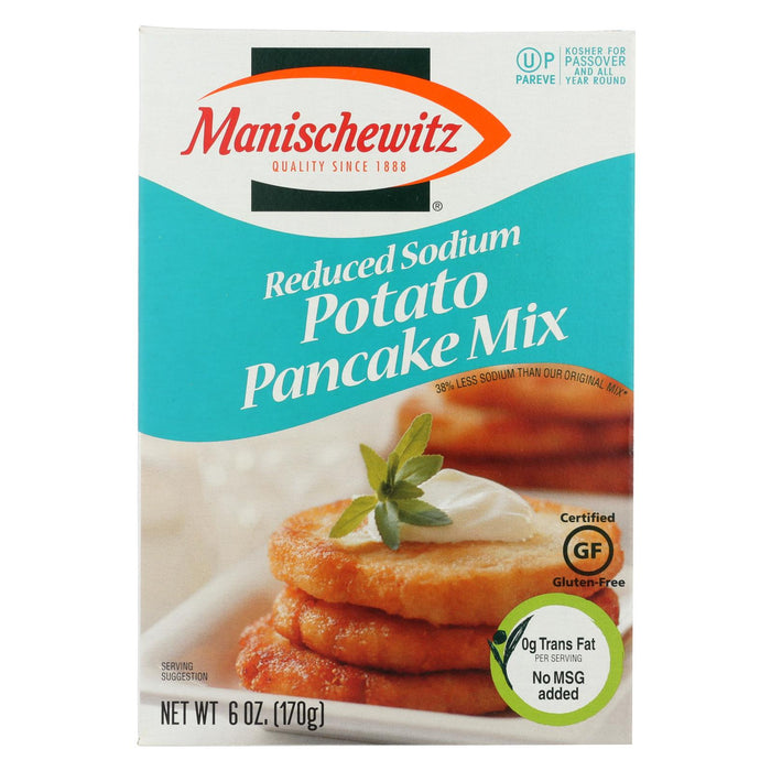Manischewitz Reduced Sodium Potato Pancake Mix - Case Of 12 - 6 Oz.