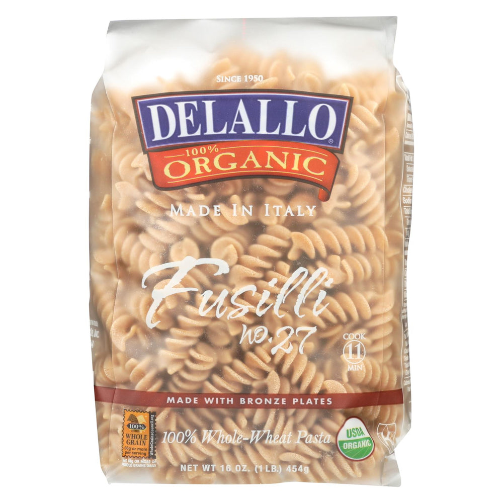 Delallo Organic Whole Wheat Fusilli Pasta - Case Of 16 - 1 Lb.