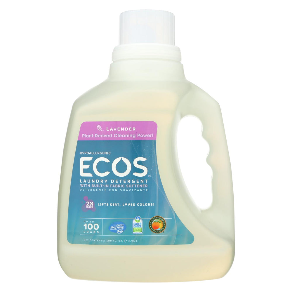 Earth Friendly Ecos Ultra 2x All Natural Laundry Detergent - Lavender - Case Of 4 - 100 Fl Oz