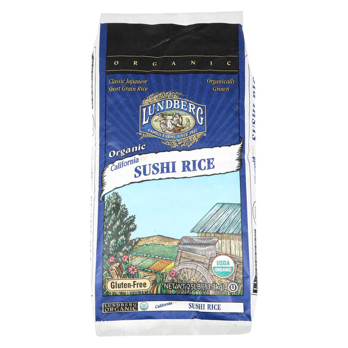 Lundberg Family Farms Organic Sushi Short Grain White Rice - Case Of 25 - 1 Lb.