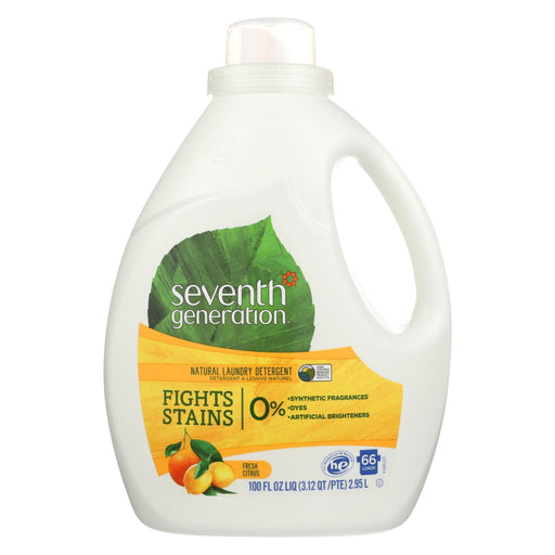 Seventh Generation Natural Laundry Detergent - Fresh Citrus - Case Of 4 - 100 Fl Oz.