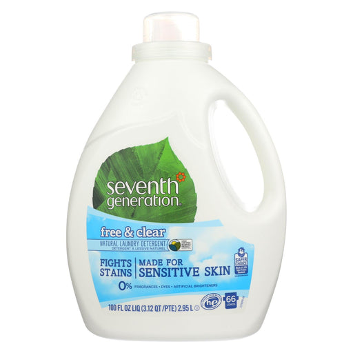 Seventh Generation Natural Laundry Detergent - Free And Clear - Case Of 4 - 100 Fl Oz.