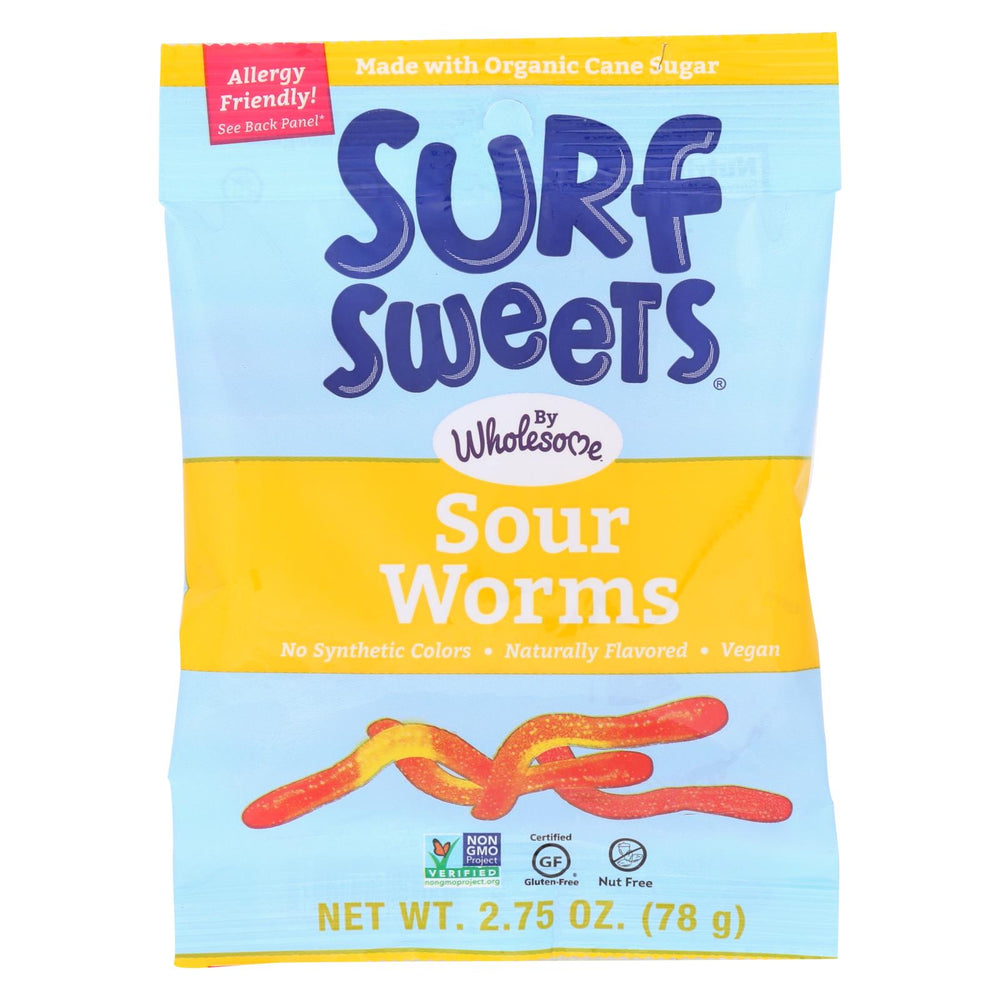 Surf Sweets Gummy Worms - Sour - Case Of 12 - 2.75 Oz.