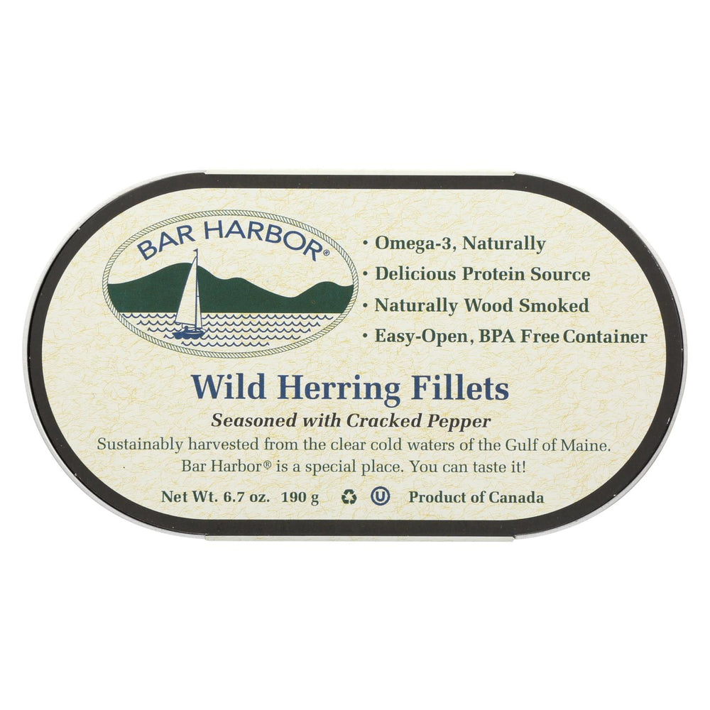 Bar Harbor Wild Herring Fillets - Cracked Pepper - Case Of 12 - 6.7 Oz.