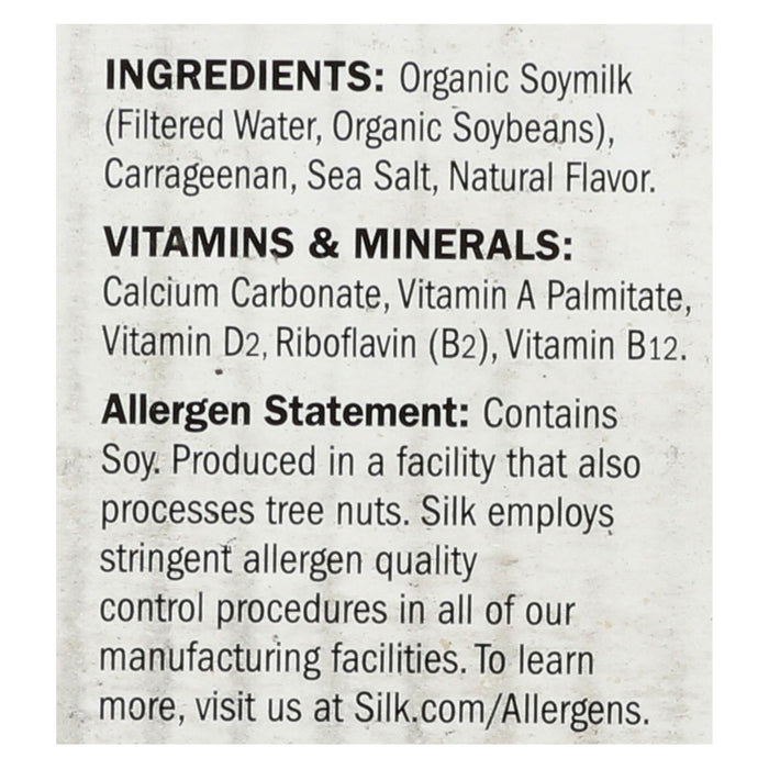 Silk Organic Soymilk - Unsweetened - Case Of 6 - 32 Fl Oz.