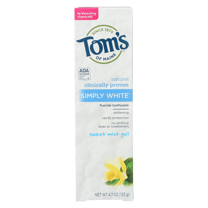 Tom's Of Maine Toothpaste - Simply White - Gel - Sweet Mint - 4.7 Oz - Case Of 6