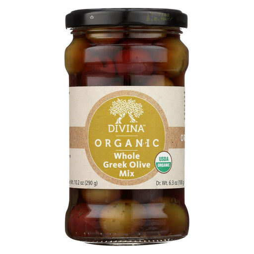Divina Organic Greek Mixed Olives - Case Of 6 - 6.35 Oz.
