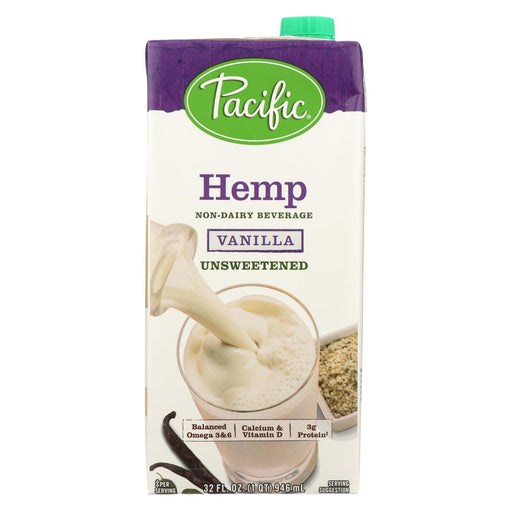 Pacific Natural Foods Hemp Vanilla - Unsweetened - Case Of 12 - 32 Fl Oz.