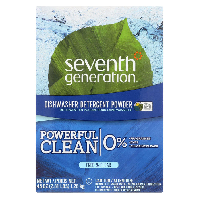 Seventh Generation Auto Dish Powder - Free And Clear - Case Of 12 - 45 Oz.