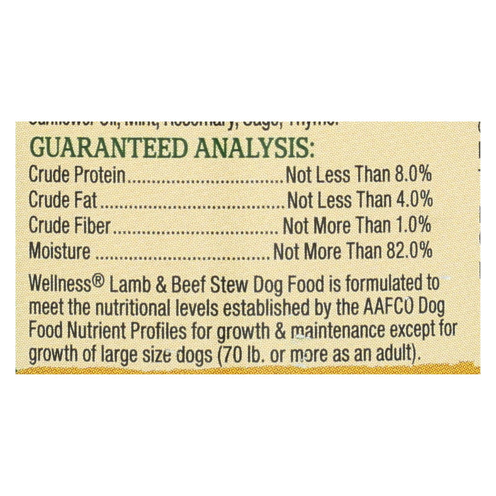 Wellness Pet Products Dog Food - Lamb And Beef With Brown Rice And Apple - Case Of 12 - 12.5 Oz.