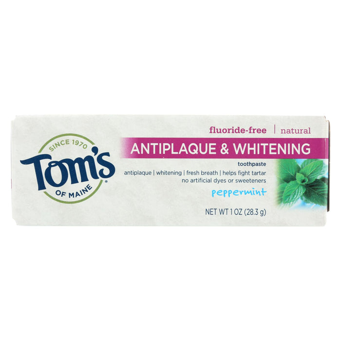 Tom's Of Maine Antiplaque & Whitening Toothpaste Peppermint - Case Of 12 - 1 Oz.