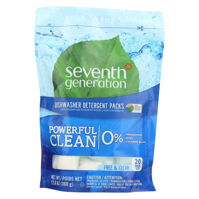 Seventh Generation Automatic Dishwasher Detergent Packs - Free And Clear - 20 Ct - Case Of 12
