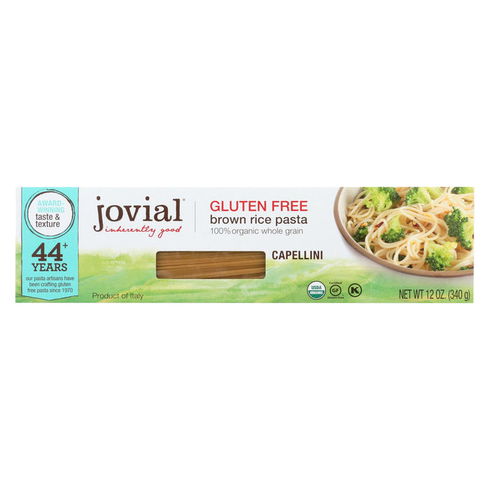 Jovial Gluten Free Brown Rice Pasta - Capellini - Case Of 12 - 12 Oz.