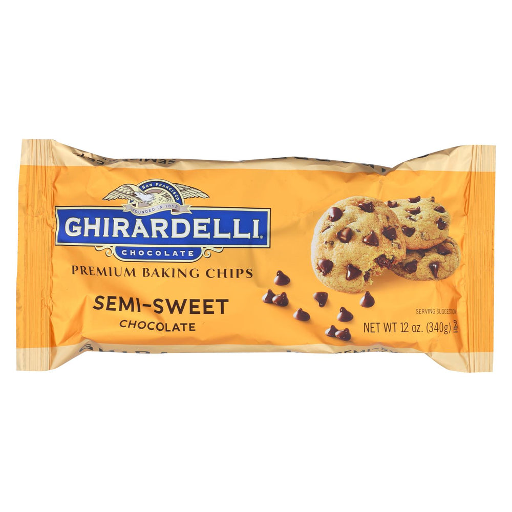 Ghirardelli Baking Chips - Semi Sweet Chocolate - Case Of 12 - 12 Oz.