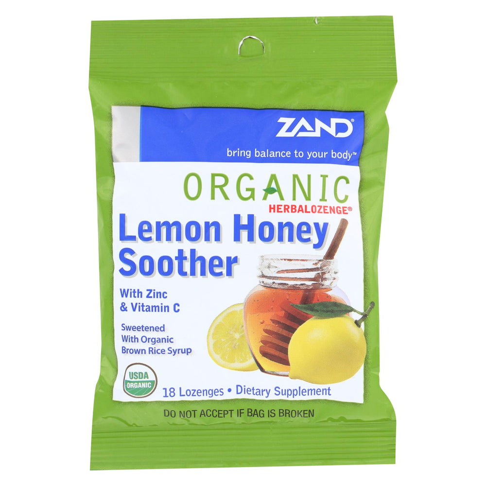 Zand Organic Lemon Honey Herbal Lozenges - Case Of 12 - 18 Count