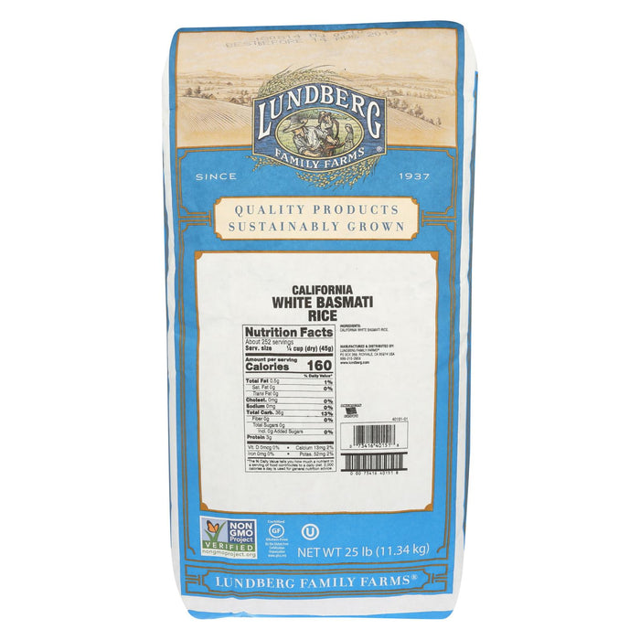 Lundberg Family Farms California White Basmati Rice - Case Of 25 - 1 Lb.