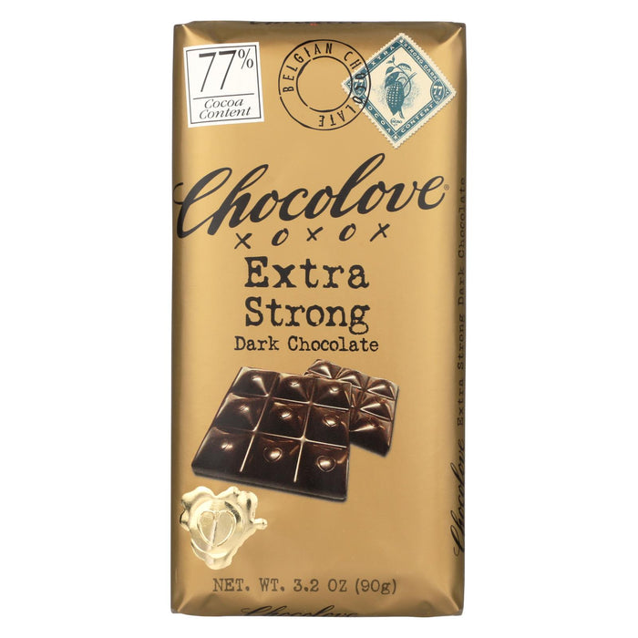 Chocolove Xoxox Premium Chocolate Bar - Dark Chocolate - Extra Strong - 3.2 Oz Bars - Case Of 12
