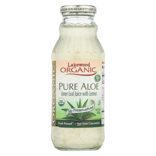 Lakewood Organic Aloe Juice - Pure - Fresh Pressed - Inner Fillet - With Lemon - 12.5 Oz