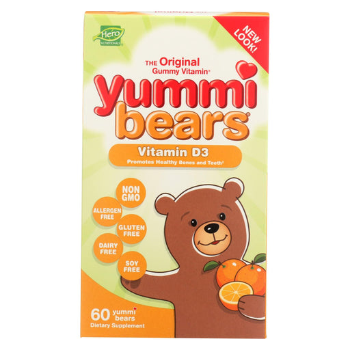 Hero Nutritionals Yummi Bears Gummy Vitamins For Children With Vitamind-3 - 60 Gummies