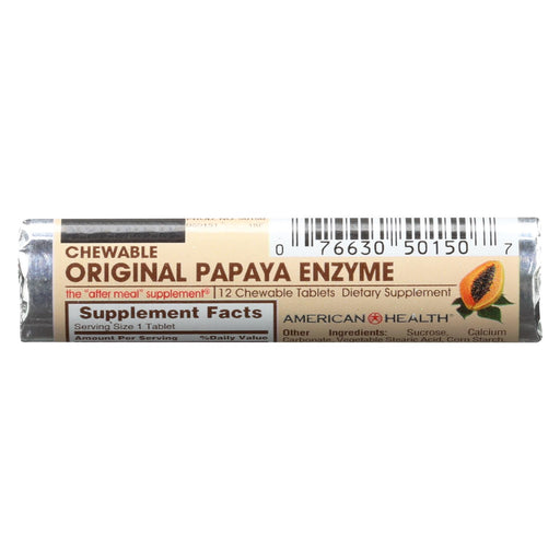 American Health Original Papaya Enzyme Chewable - 12 Chewable Tablets Each - Pack Of 16 - Case Of 16