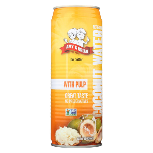 Amy And Brian Coconut Water With Pulp - Case Of 12 - 17.5 Fl Oz.
