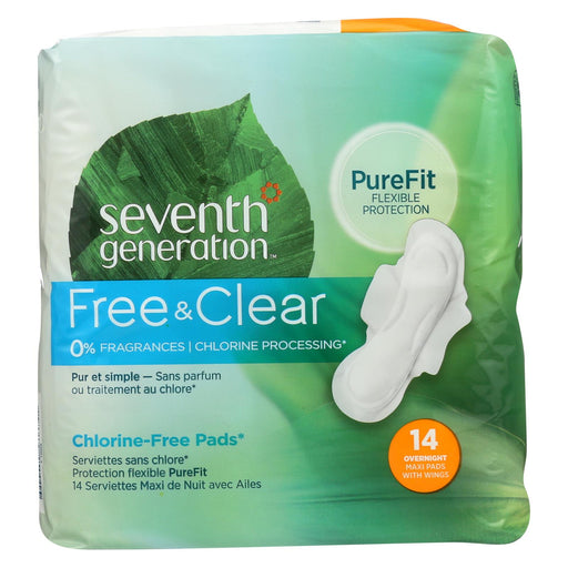Seventh Generation Maxi Pads - Overnight With Wings - 14 Ct - Case Of 12