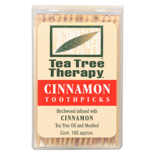 Tea Tree Therapy Toothpicks Cinnamon - 100 Toothpicks - Case Of 12