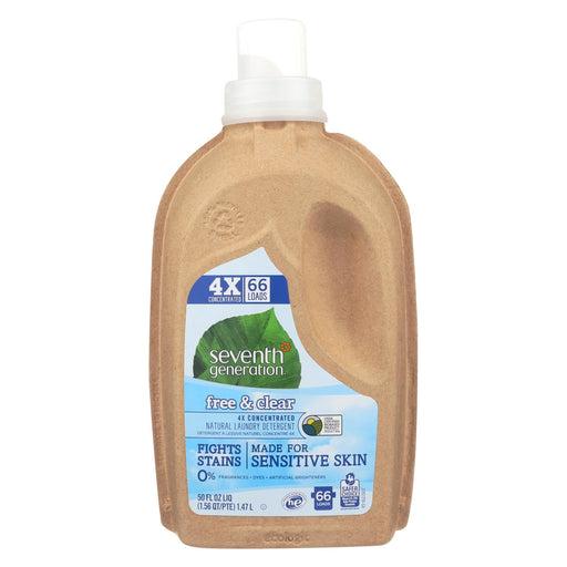 Seventh Generation Natural 4x Concentrated Laundry Detergent - Free And Clear - Case Of 6 - 50 Fl Oz.