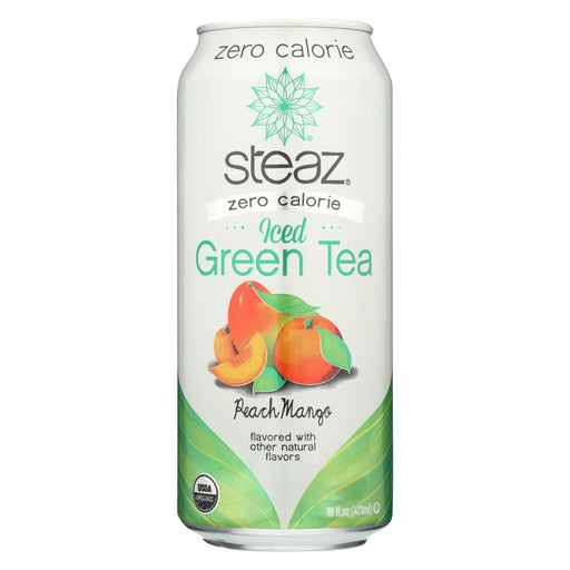 Steaz Zero Calorie Green Tea - Peach Mango - Case Of 12 - 16 Fl Oz.